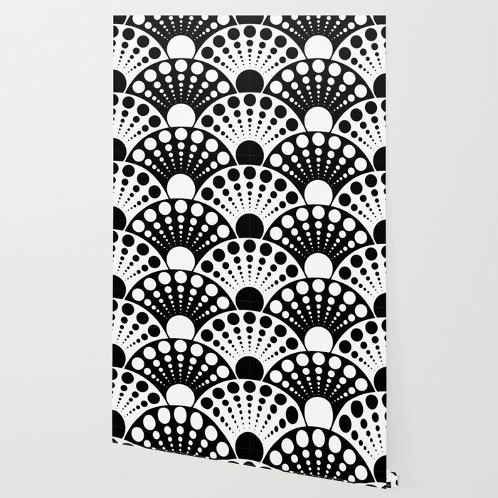 Black And White Art Deco Inspired Fan Pattern Wallpaper By