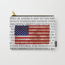 Patriotic Pledge of Allegiance American Flag Carry-All Pouch