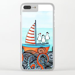 Seagull and little boat Clear iPhone Case