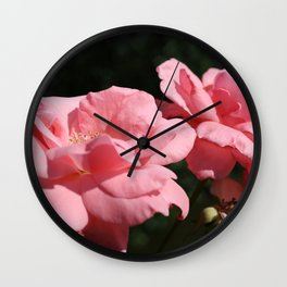 Pink Roses in the Garden Wall Clock
