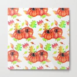 Watercolor Pumpkins Metal Print