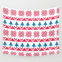 Colorful pink blue watercolor scandinavian pattern Wall Tapestry