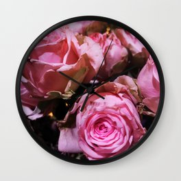 Shabby Chic Pink Roses Wall Clock