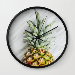 Pineapple on Marble Wall Clock