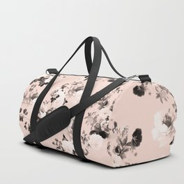 Modern girly elegant blush pink white floral pattern Duffle Bag