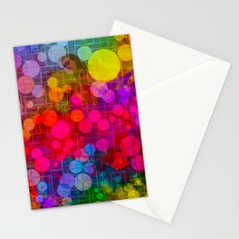 Rainbow Bubbles Abstract Design Stationery Cards
