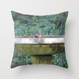Bird in bath, Poulsbo Throw Pillow