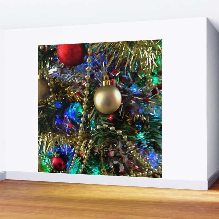 Christmas Tree Garland.Christmas Tree Garlands And Ornaments Wall Mural