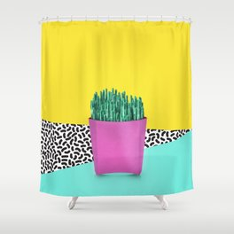 Cactus Fries 90s Style Shower Curtain