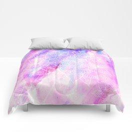 Modern hand painted pink lilac watercolor mandala pattern Comforters