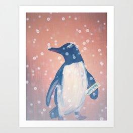 Penguin with a Breakaway Art Print