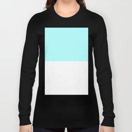 White and Celeste Cyan Horizontal Halves Long Sleeve T-shirt