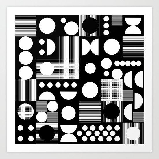 Black and white minimal pattern abstract scandi design geometric shapes Art Print