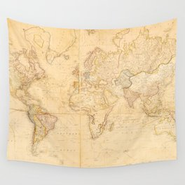 Vintage Map of The World (1818) Wall Tapestry