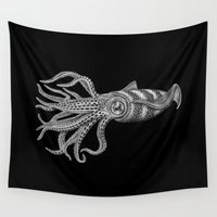squid Wall Tapestries featuring Squid by Tim Jeffs Art