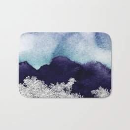 Silver foil on blue indigo paint Bath Mat