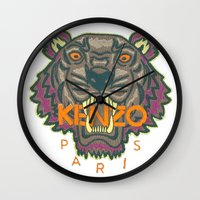 kenzo Wall Clocks featuring Kenzo Tiger with seams by cvrcak