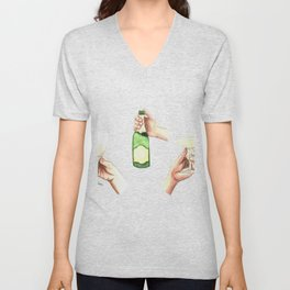 Champagne Cheers Hands Unisex V-Neck