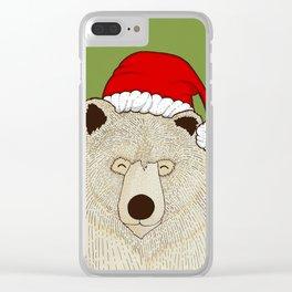 Xmas Bear Clear iPhone Case