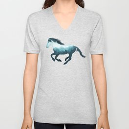Wild Horse Mustang Equine Double Exposure Wildlife Animal Unisex V-Neck