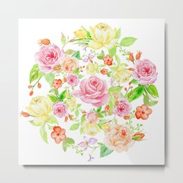 Bouquet of PINK & YELLOW rose - wreath Metal Print