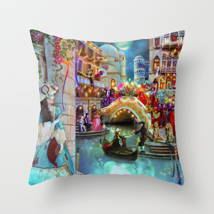 Carnival Moon Throw Pillow