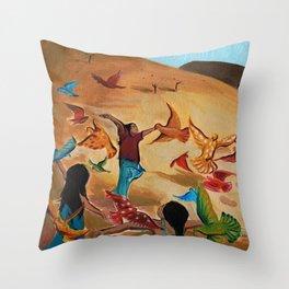 Happy children with Painted birds children's book Illustration Throw Pillow