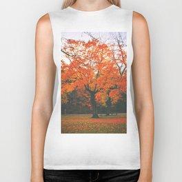 Bright Orange Fall Tree Biker Tank