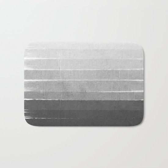 Brushstroke - Ombre Grey, Charcoal, minimal, Monochrome, black and white, trendy,  painterly art  Bath Mat