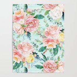 Minty Vintage Floral Poster
