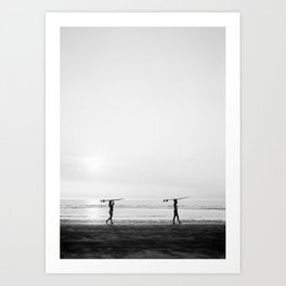 Surfer couple | Wanderlust photography of surfer couple | Coastal wall art. Art Print