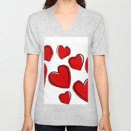 Valentine Hearts Love Romance Holidays. Unisex V-Neck