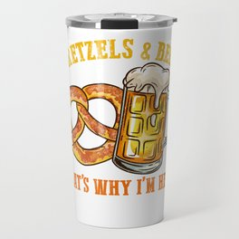 Pretzels and Beer l German Festival Bavarian Oktoberfest print Travel Mug
