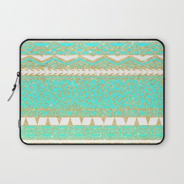 Modern gold turquoise teal ombre aztec pattern Laptop Sleeve