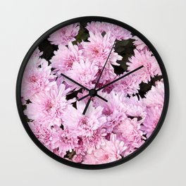 A Sea of Light Pink Chrysanthemums #1 #floral #art #Society6 Wall Clock