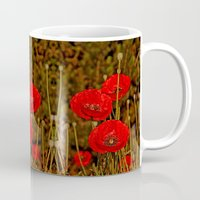 poppies Mugs featuring Poppies by Pirmin Nohr