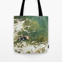 surfer Tote Bags featuring Surfer  by Ed Pulella