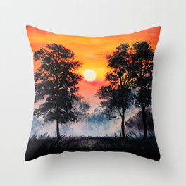 Oil painting landscape - sunset in the forest, fog Throw Pillow