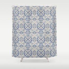 Vintage blue tiles pattern Shower Curtain