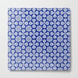 Sapphire Blue Floral Metal Print