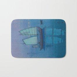 Sailing Boats, Night (Hansen, Yoru) Hiroshi Yoshida Vintage Japanese Woodblock Print Bath Mat