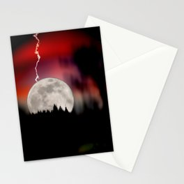 Moon and lightning Stationery Cards