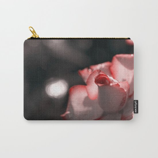 Pink floral Rose Flower - Flowers with sparkling waterdroplets on #Society6 Carry-All Pouch