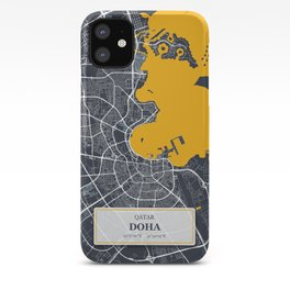 Doha, Qatar City Map with GPS Coordinates iPhone Case