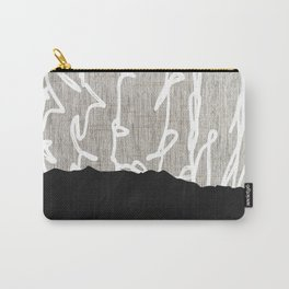 Scribble Mountain of Neutral Black White & Beige Abstract Minimalism Carry-All Pouch