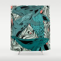 whales Shower Curtains featuring Whales by melcsee