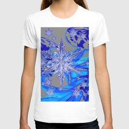 MODERN ROYAL BLUE WINTER SNOWFLAKES GREY ART T-shirt