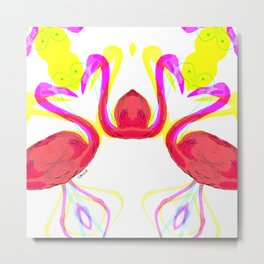 Fifi the pink Flamingo 2 /Pattern Metal Print