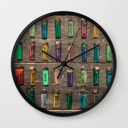 Grid of found Beach Lighters from Cambodia Wall Clock