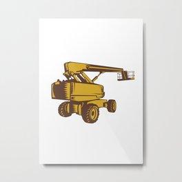 Cherry Picker Mobile Lift Platform Woodcut Metal Print